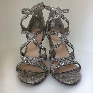 3 inch silver rhinestone heels.